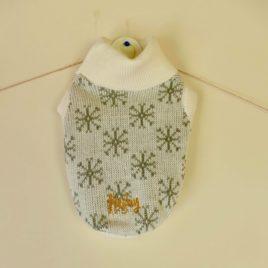 Saco Tejido lana sintetica diseño navidad copos plateados fondo blanco