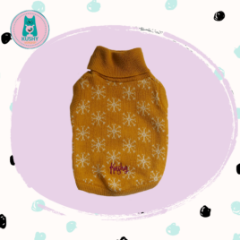 Mustard knitted sweater with white flakes