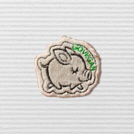 Go Vegan light grey pig patch