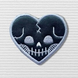 Black Skeleton heart patch